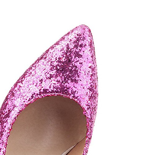 41 Purple Shoes PU Pumps High Frosted Heels Closed Women's Pointed WeiPoot Toe PZHOwUanxq