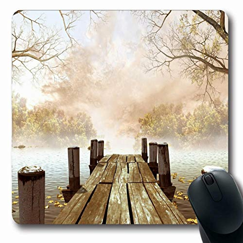 Ahawoso Mousepads Fall Wooden Bridge Decor Lake View from Wooden Pier On Misty Autumn Morning in Park Art Design Oblong Shape 7.9 x 9.5 Inches Oblong Gaming Mouse Pad Non-Slip Rubber Mat