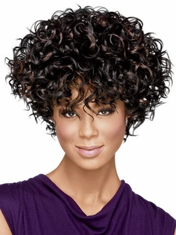 [B-G Short Curly Wavy Hair Wig for Women WIG058, Black, 22 Inch] (Curly Wigs For Black Hair)