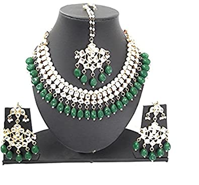 09a775d1569dec Buy Shimmer Swag Green Pearl Golden Kundan Ethnic Party wear Necklace Set  with Maang Tika for Girls and Womens Online at Low Prices in India