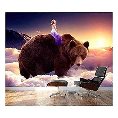 Large Wall Mural Fantasy Series Girl Riding on The Back of a Bear with Clouds Vinyl Wallpaper Removable Wall Decor, Classic Artwork, Delightful Technique
