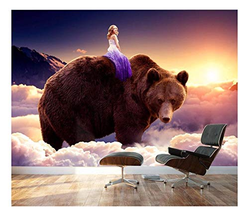 Large Wall Mural Fantasy Series Girl Riding on The Back of a Bear with Clouds Vinyl Wallpaper Removable Wall Decor