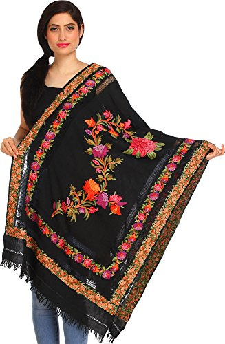 (Exotic India Jet-Black Ari Kashmiri Stole with Floral Hand-Embroidery and Cut-work on Border)