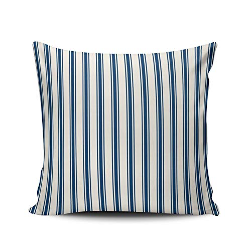 MUKPU Fashion Home Decoration Design Throw Pillow Case Classic Stripe Pattern Navy and White 16X16 Inch Square Custom Pillowcase Cushion Cover Double Sided Printed (Set of 1)