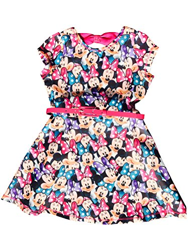 Price comparison product image Disney Minnie Mouse Girls' Scuba Skater Dress w/Belt and Bow In The Back Pink Size 8