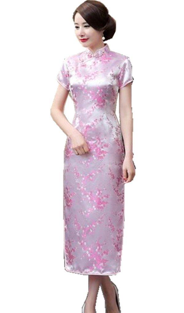 Shanghai Story Women's Qipao Long Chinese Wedding Evening Dress Cheongsam 6 Pink