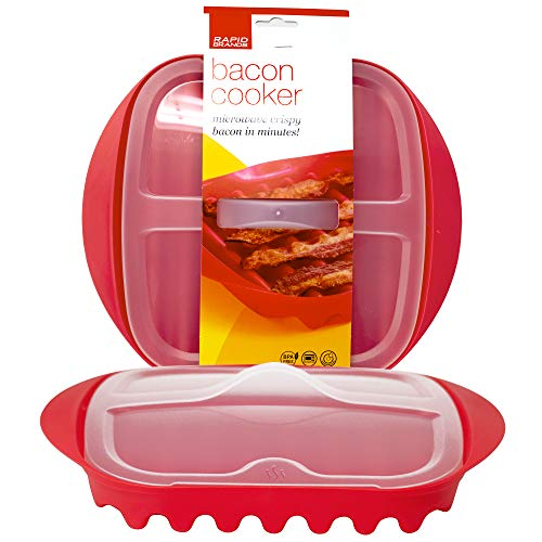 Rapid Bacon Cooker with Lid | Microwave Crispy Bacon in 4 Minutes | Perfect for Dorm, Small Kitchen, or Office | Dishwasher-Safe, Microwaveable, BPA-Free