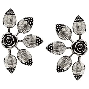 Efulgenz Boho Vintage Antique Ethnic Gypsy Tribal Indian Oxidized Silver Floral Big Stud Earrings Jewelry Set