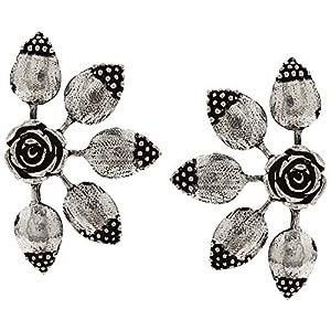 Efulgenz Boho Vintage Antique Ethnic Gypsy Tribal Indian Oxidized Silver Floral Big Stud Earrings Jewelry Set