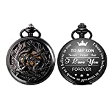 SIBOSUN Pocket Watch Personalized Engraved Back Case Mechanical Chain MOM to Son Gift Birthday Graduation