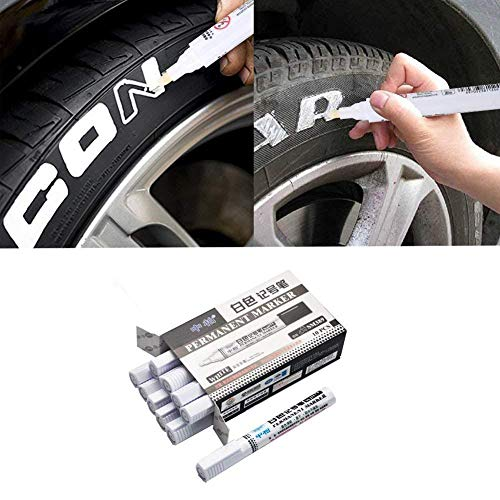 (BDSONG 10PCS Waterproof Tyre Paint Marker Pens, White Permanent Marker Paint Pen Great Idea for Car Motorcycle Tire Tread Rubber Metal DIY Projects)