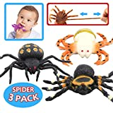 Spider Toy, 4-inch Realistic Spider(3 Pack),Food Grade Material TPR Super Stretchy,Zoo World Black Rubber Spider Halloween Gag Gift Practical Joke Tricks Props Prank Squishy Toy