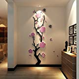 New Luxury Plum Flower 3D Stereo Acrylic Crystal Wall Sticker DIY Stickers Mural Bedroom Living Room Entrance TV Background Wall Decor Decorations Decals adesivo de parede