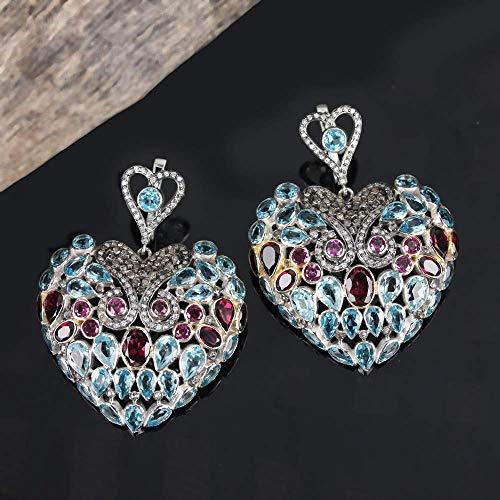 Natural Pave Diamond Blue Topaz Rhodolite Designer Heart Dangle Earrings 925 Silver Handmade Fine Jewelry Christmas Gift