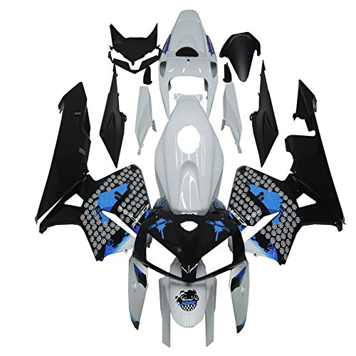 Black Abs Injection (For Honda 2005 2006 CBR 600RR Blue Black White ABS Injection Fairing Set)
