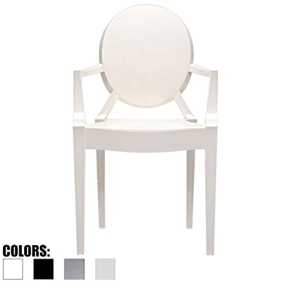 2xhome White - Modern Contemporary Louis XIV Dining Chair Armchair Ghost  Style Ghost Chair with Arms Ghost Arm Chair in White Stackable Stacking  Made