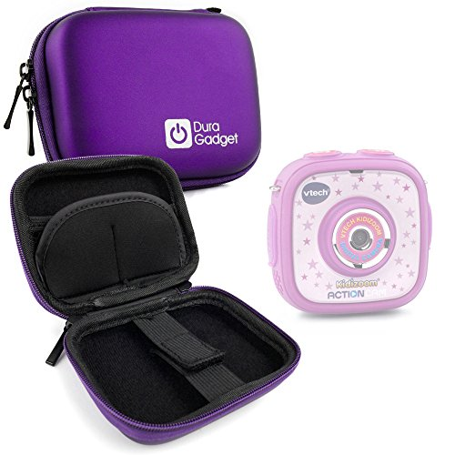 DURAGADGET Premium Quality Purple Hard EVA Shell Case with Carabiner Clip & Twin Zips - Compatible with Vtech Kidizoom Action Cam - 170705 by DURAGADGET