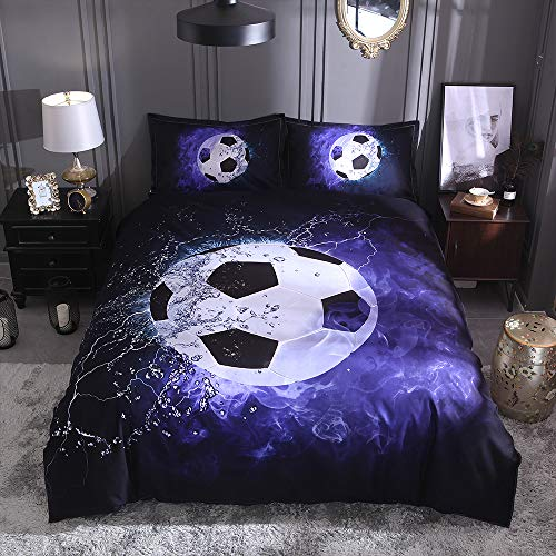 UNAOIWN Duvet Cover Sets 3 Pieces Sports Theme Children Kids Cool Bedding Set Teen Baseball, Football, Basketball, and Soccer Printing Quilt Cover Zipper Closure, No Comforter (Soccer, King)]()