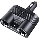 MEIDI 80W 2-Socket Cigarette Lighter Adapter 12V/24V DC Outlet Splitter with 3.4A Dual USB Car Charger for iPhone iPad Android Samsung GPS Dash Cam and More (Black)