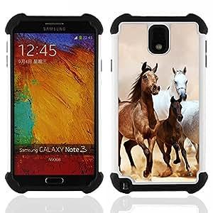 For Samsung Galaxy Note3 N9000 N9008V N9009 - Horses Galloping Mustang Brown Fur Dual Layer caso de Shell HUELGA Impacto pata de cabra con im????genes gr????ficas Steam - Funny Shop -