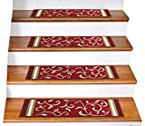 """installing carpet on stairs Gloria Rug Skid-Resistant Rubber Backing Gripper Non-Slip Carpet Stair Treads - Washable Stair Mat Area Rug (SET OF 7), 8.5"""" x 26"""", Red Floral Design"""