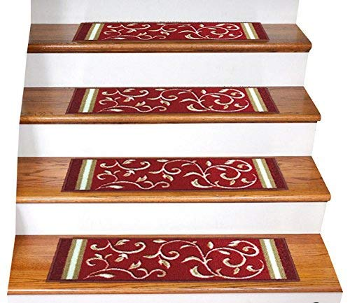 """Gloria Rug Skid-Resistant Rubber Backing Gripper Non-Slip Carpet Stair Treads - Washable Stair Mat Area Rug (SET OF 7), 8.5"""" x 26"""", Red Floral Design"""