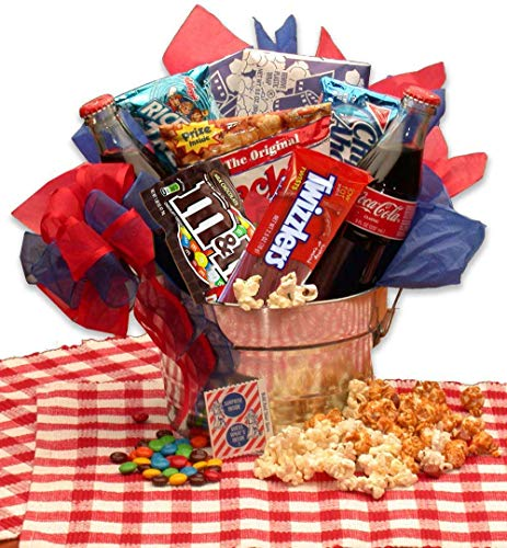Movie Night Snacks Gift Pail with candy, chocolate and snacks