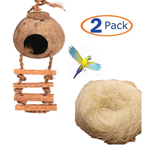 51IhKzDiEEL - Hamiledyi Bird cage Natural Cage Toy for Pet Bird Natural Coconut Fiber for Bird Nest(Pack of 2)