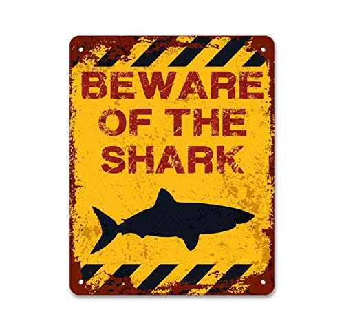 Quality Aluminum Metal - A Homim Reproduction Porcelain Signs Vintage Beware of The Shark Aluminum Quality Metal Signs 8 X 12 Inch Small Accent Wall Art