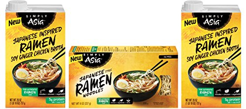 Soy Ginger Ramen (Simply Asia Broth and Noodle Variety Pack: 2 Ramen Soy Ginger Chicken Broth 26 oz and 1 Japanese Ramen Noodle 8 oz)