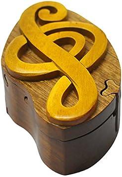 Caja secreta de madera joya joyeria hecha a mano con truco secreto y forma de nota musical (3025): Amazon.es: Juguetes y juegos