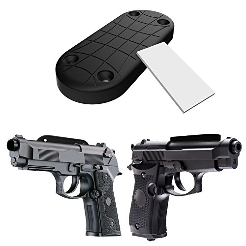 Gun-Magnet-43-Lbs-Rated-Magnetic-Gun-Mount-Holster-with-Screws-and-Double-Sided-Tape-Rubber-Coated-Adhesive-Magnets-Car-Holster-Bedside-Holster-Perfect-For-Handguns-Pistols-Firearms