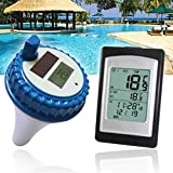 Aklamater Wireless Solar Power Floating Pool Thermometer Digital Swimming Pool SPA Floating Thermometer Remote Temperature