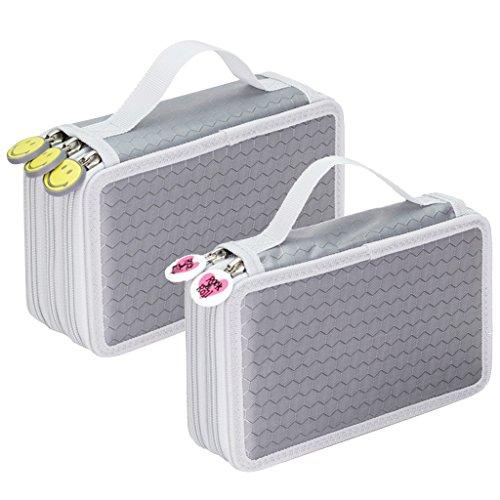 D DOLITY 2個入 色鉛筆ケース ペンシルホルダー ペンケース 文房具収納 大容量 ミニ化粧バッグケース 多機能 (色鉛筆なし)