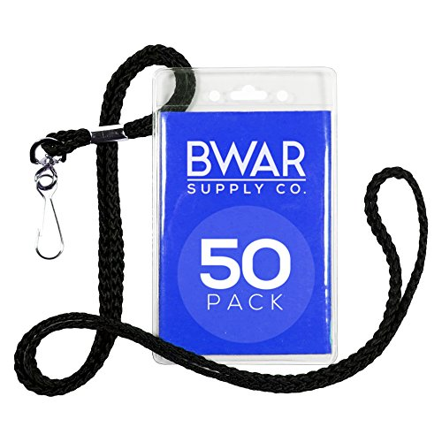 [ID Badge Holder with Black Lanyard Bundle (50 pack)] (Aviation Themed Party Costumes)