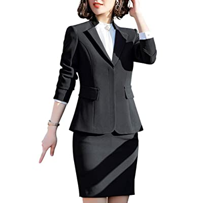 SUSIELADY Womens Elegant Long Sleeve Office Business Skirt Suit Sets Work Blazer Jacket Skirt: Clothing