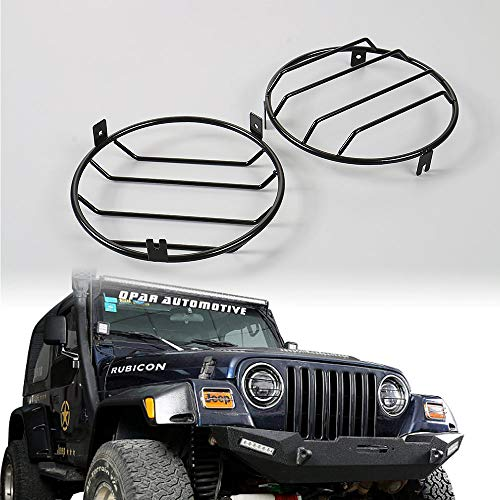JE-Novia Black Euro Headlight Cover Guard Lights Protector Lamp Guard for 97-06 Jeep Wrangler TJ & Wrangler Unlimited-Pair(Black)