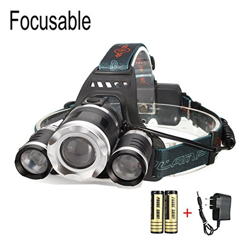 CAMTOA 5000LM Focusable Led Headlight,3 LED 3 X T6 Rechargeable Headlamp + 2R5 LED Head lamp 4 Modes Headlight Flashlight Torch For Outdoor Sports Camping Biking Hunting Fishing (black 2)