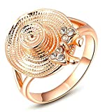 AmDxD Jewelry Gold Plated Women Engagement Rings Rose Gold Grass Hat Shape Size 8