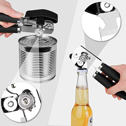 Can Opener Handheld, Smooth Edge Can Opener Manual, Stainless Steel Heavy Duty Can Opener with Ergonomic Long Handle Ideal for Seniors with Arthritis