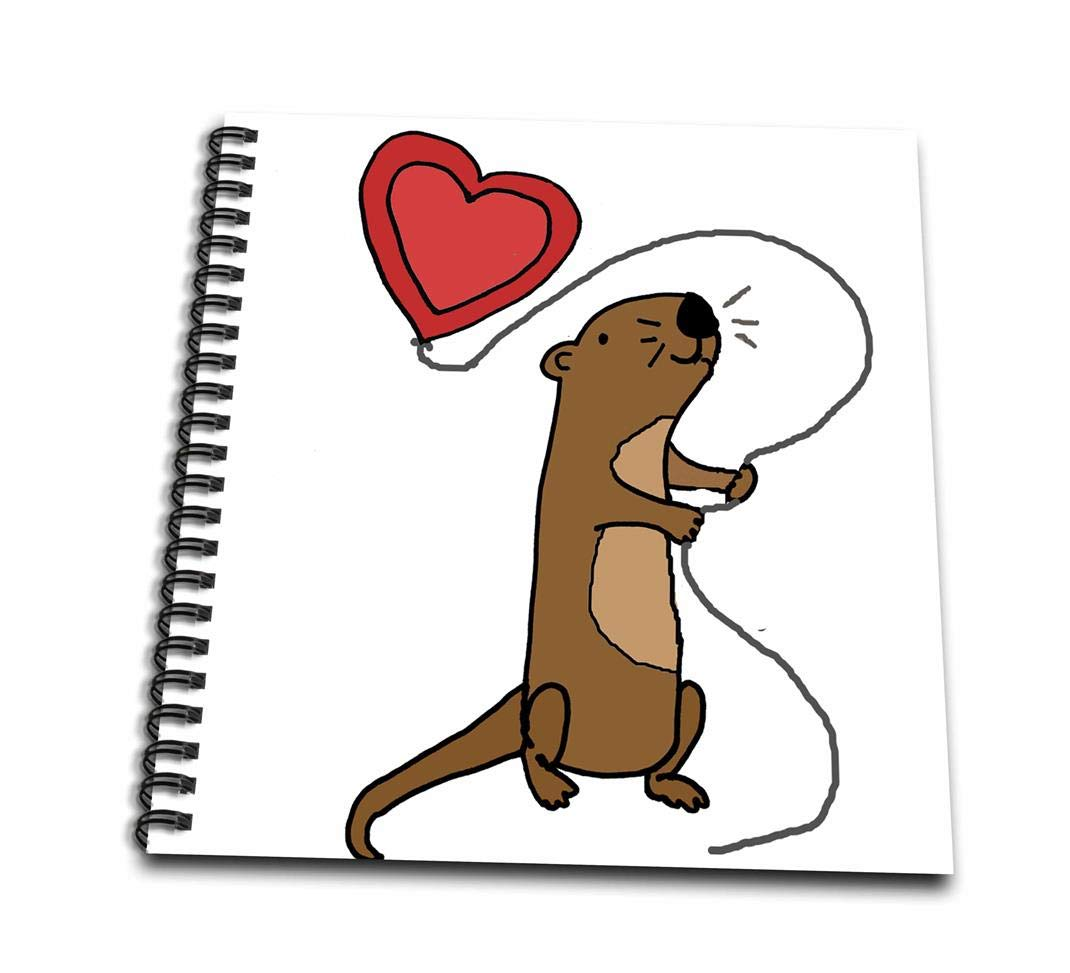 3dRose db/_265128/_1 Funny Cute Sea Otter with Heart Shaped Love Balloon Cartoon Drawing Book 8 x 8,