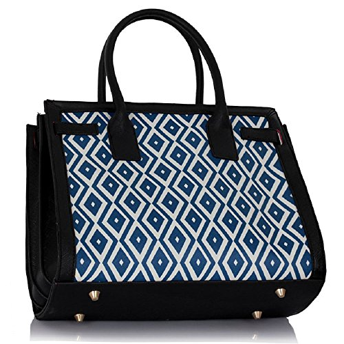 LEESUN LONDON - Bolsa mujer, color negro, talla Large CD - Black/Blue