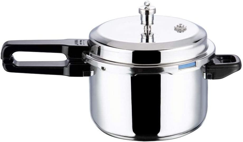 Vinod V-5L Stainless Steel Sandwich Bottom Pressure Cooker, 5-Liter,Silver,Medium
