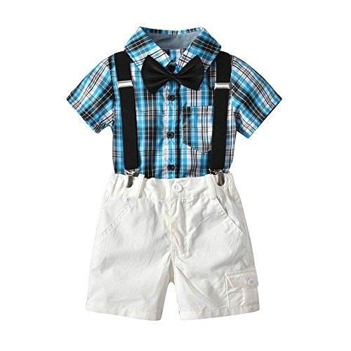 Fineser Toddler Baby Boys Gentleman Set,Bowtie Plaid Short Sleeve Shirt+Suspenders Short (Blue, ()