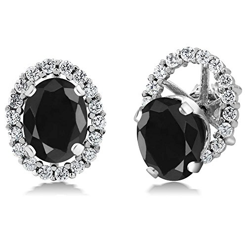 3.84 Ct Oval Black Sapphire Sterling Silver Stud Earrings with Jackets ()