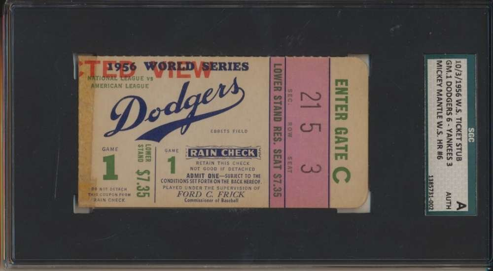 1956 Ticket Stub World Series Game 1 10/3 Mick Mantle HR SGC A Authentic 39115