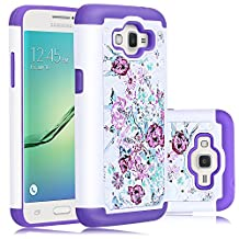 Core Prime Case, Galaxy Prevail LTE Case, Heng Tech (TM) Flower Design Studded Rhinestone Crystal Bling Hybrid Armor Defender Case Cover for Samsung Galaxy Core Prime