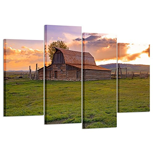(Kreative Arts Vintage Barn in Rural Wyoming Canvas Print Wall Art USA Grand Teton National Park Landscape 4 Pieces Paintings Modern Giclee Stretched and Framed Artwork for Living Room Decor)