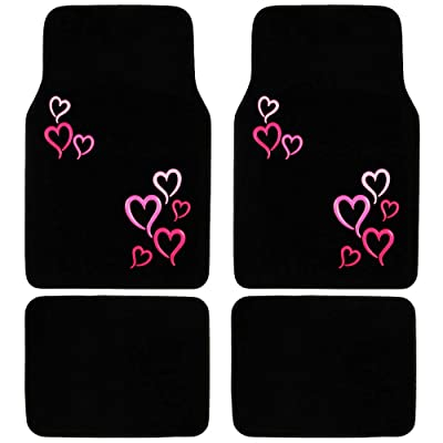 BDK MT-403-PK Design Carpet Car Floor Mats Front and Rear Full Set with Rubber Backing-Universal Fit, 4 Piece, Pink and Red Hearts: Automotive [5Bkhe1010884]