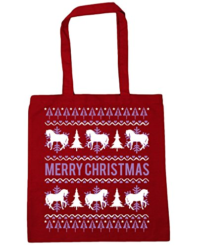 Shopping Bag 42cm x38cm Red Classic litres horse HippoWarehouse Tote Beach Merry christmas Gym 10 z0W8WaqI